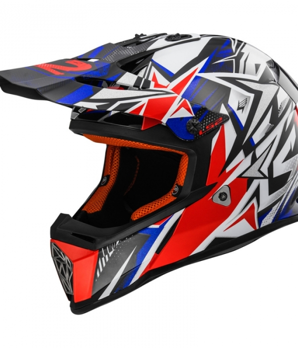CASCO LS2 FAST STRONG MX437 BLANCO-ROJO-AZUL
