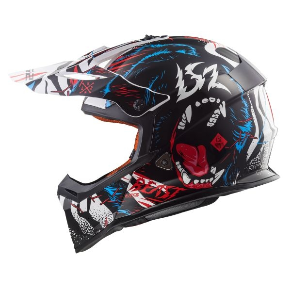 CASCO LS2 FAST BEAST BLACK WHITE MX437