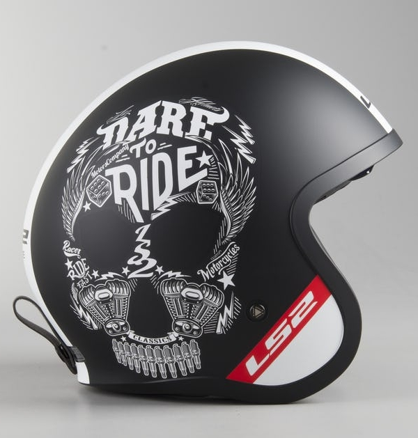 CASCO LS2 OF599 SPITFIRE INKY MATE - NEGRO - BLANCO